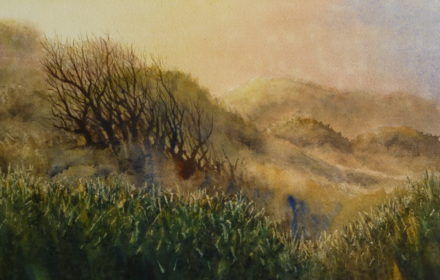 A watercolour painting of the sand dunes, marram grass and trees in the golden evening sun at Birkdale beach, Southport