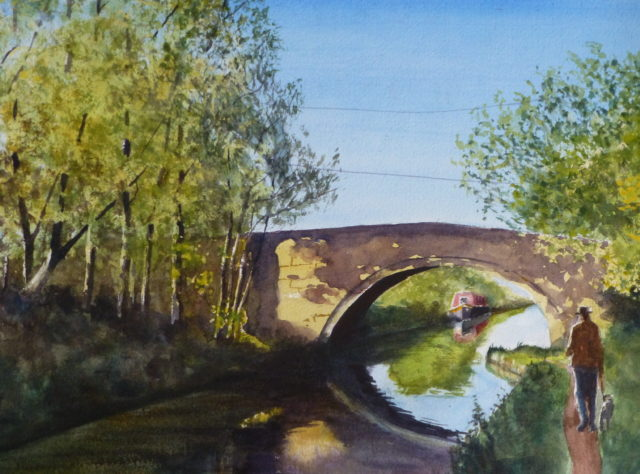 A watercolour painting of the Leeds to Liverpool Canal at Plex Lane, Halsall on a sunny morning with reflections and dappled sunlight.