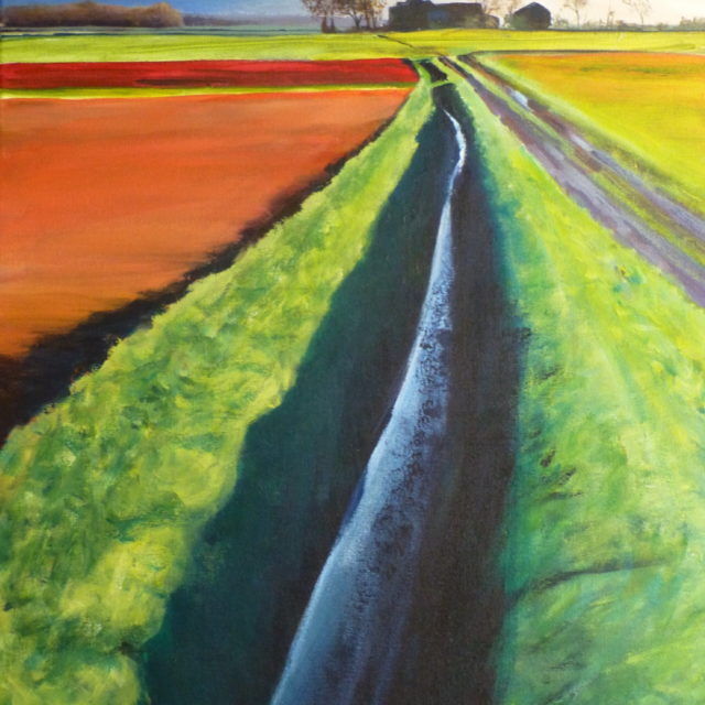 An Acrylic painting of Green Kettle Farm on the flat land of Halsall Moss outside Southport with a storm passing and full drainage ditches