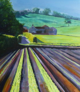 An Acrylic painting of fields and farms under Clieves Hills on the Lancashire Plain outside Ormskirk looking up Shepherds Lane in the sunshine.