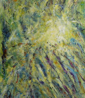 An abstract acrylic painting in greens yellows and blues giving textural surface of a topographical nature