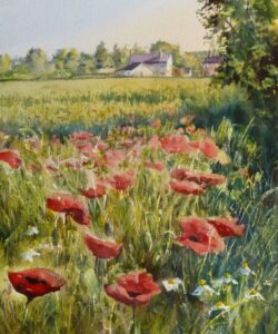 A watercolour painting of fields and houses near Halsall featuring poppies and daisies growing in a field of cereal