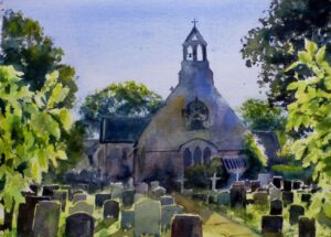 A watercolour painting of the rear of St Likes Church in Formby with the sun shining through the leaves of the surrounding trees.