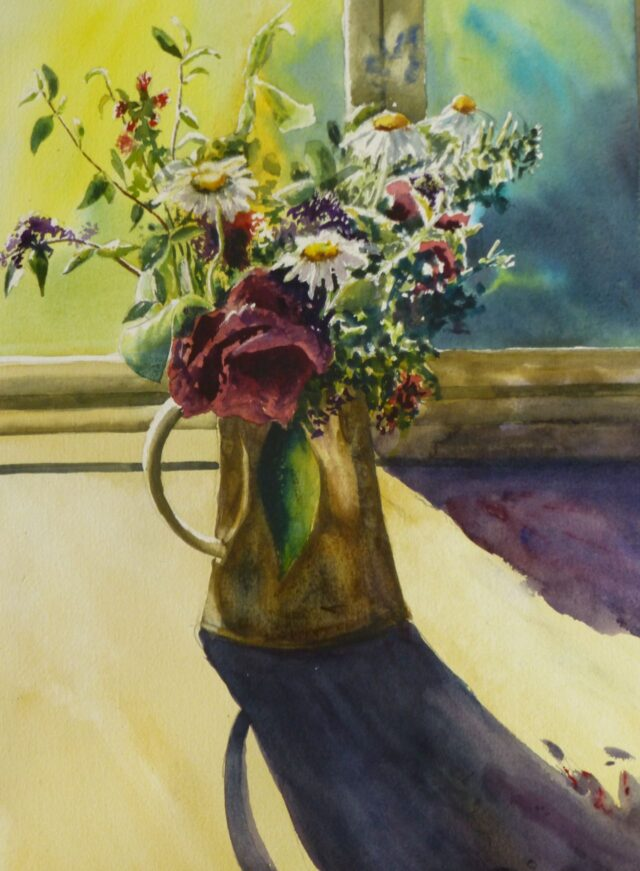 A watercolour painting of A Jug Of Flowers In A Sunny Window showing daisies and camillias highlighted by sunshine and creating deep shadows