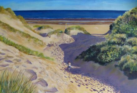 An acrylic painting of the beach at Formby point showing sand dunes, sea and a walker in the early morning light