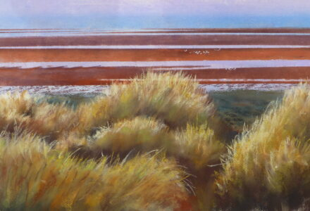 A pastel painting of Birkdale Beach in the morning light with sandunes, marram grass and sea birds. Lagoons stretch out to the sea.