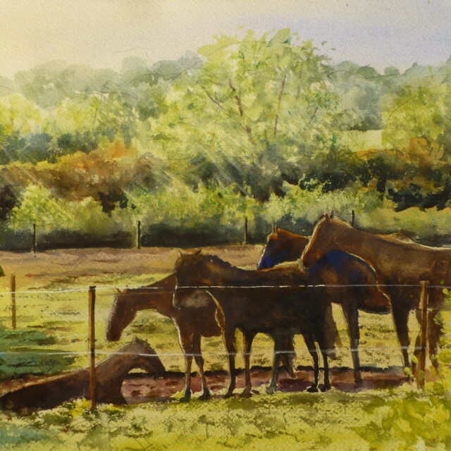 A painting of horses standing and lying in a paddock in the early morning with the golden sunlight coming in over the trees behind them