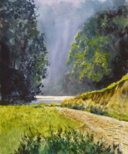 A watercolour painting of the River Wear at Durham passing through the wooded gorge with sunlight on the water and picking out leaves on the trees