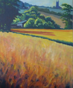 A stylised acrylic painting looking across the fields on Clieves Hills towards Christ Church Aughton in the morning light.