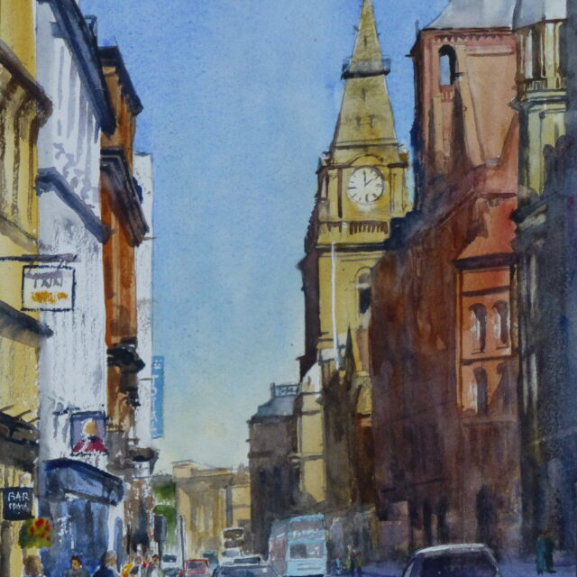 A watercolour painting of a busy sunny day in Dale Street Liverpool, looking at the Prudential and Municipal Buildings.