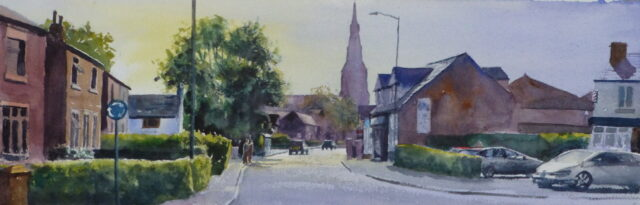 A watercolour townscape painting of the main street in Tarleton, near Southport, featuring the Holy Trinity Church spire.