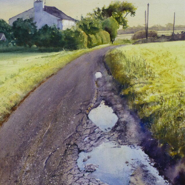 A watercolour painting of a lane in Halsall, near Ormskirk, depicting a cottage and the potholed lane dotted with puddles.