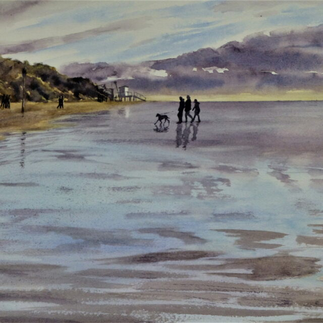 Light fades as walkers return to the Lifeguards Station at Formby Point with wet sands reflecting the low light - watercolour painting