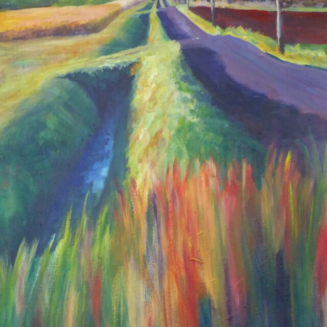 An acrylic painting on canvas of an undulating country track near Halsall alongside a deep ditch with telegraph poles and fields of crops in sunlight.