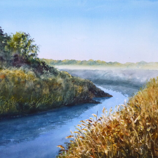 A watercolour painting of a bend on the River Alt on a misty morning with reedbeds and a low sun highlighting the trees.
