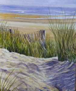 A watercolour painting of Formby Beach looking past marram grass and broken picket fences to the beach and sea beyond.