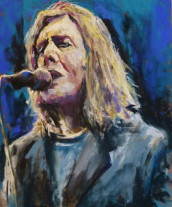 A pastel painting of David Bowie with long hair in later years performing on stage. Done in an expressive style