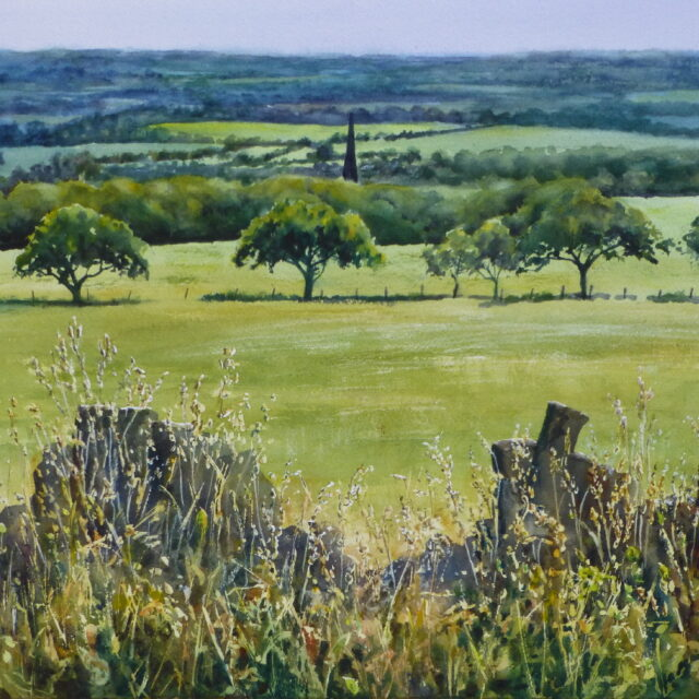 A watercolour painting of the view towards Southport from Parbold Hill, looking over the church and trees on the hill with grasses and a wall in the foreground.