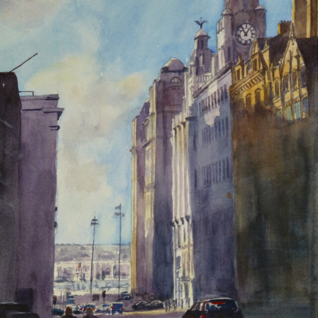 A watercolour painting of Water Street in Liverpool and the Liver Building with the sun shining on the tops of the buildings and cars and pedestrians on the street below.