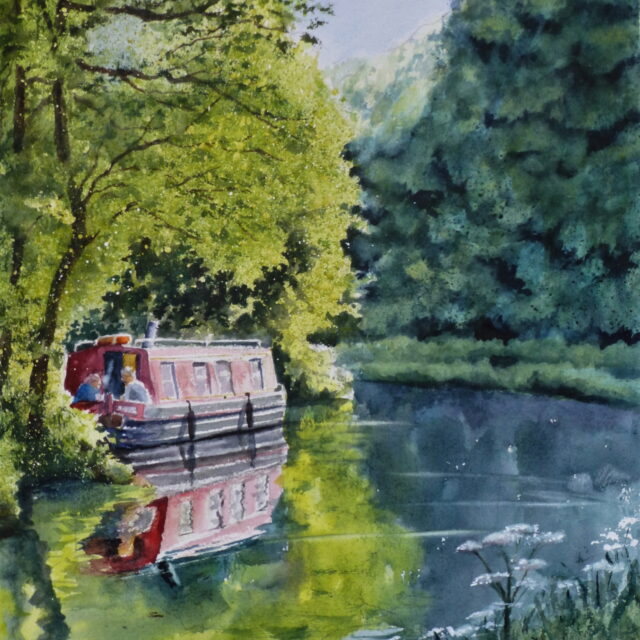 A watercolour painting of the Leeds to Liverpool Canal with a narrowboat moored to the bank under trees with lush foliage and reflections in the water.