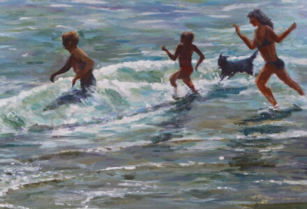 An acrylic painting of 3 figures and a dog running into the sea and oncoming waves painted contra jour.