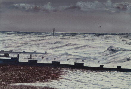 A watercolour painting of Bexhill Beach with stormy, winter waves breaking out onto the shingle beach and against the groynes