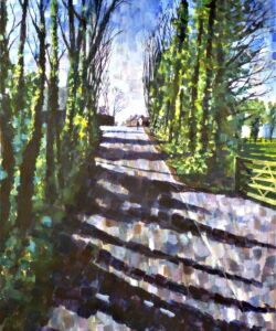 An Acrylic painting of a sunlit lane in early spring with reflected light off the ivy on the tree trunks and shadows across the road.
