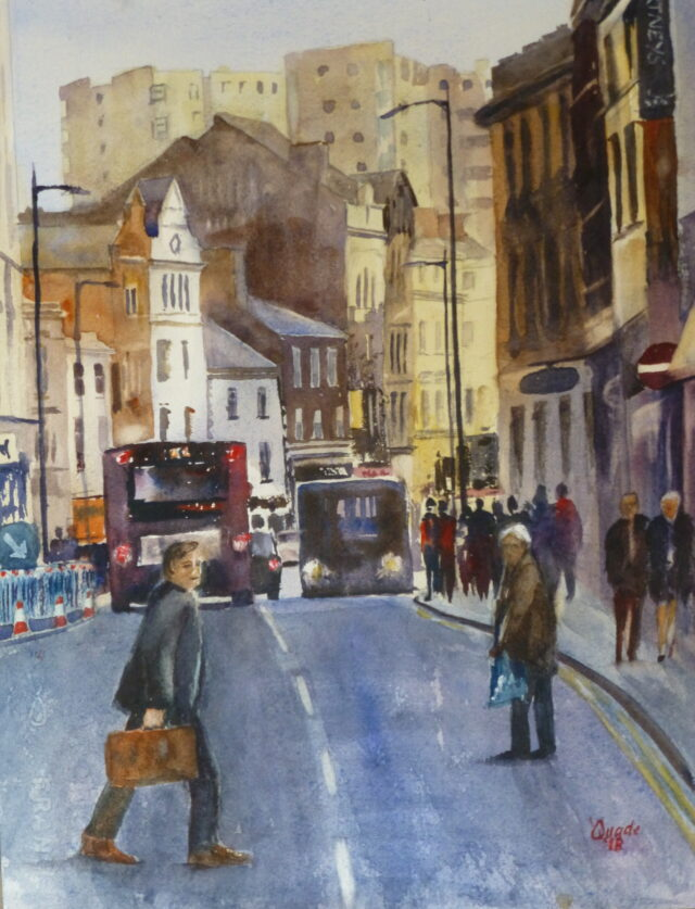 Crossing Hanover Street a watercolour painting of Liverpool and the busy street with buses, cars and pedestrians