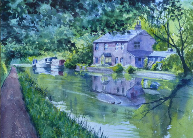 A watercolour painting of a cottage by the Leeds to Liverpool Canal at Lathom with narrowboats moored nearby and reflections in the water.