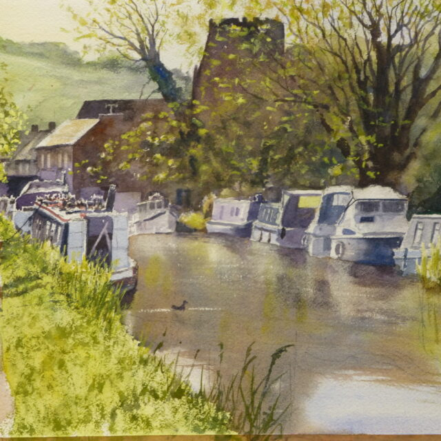 A watercolour painting of the moorings on the Leeds to Liverpool canal at Parbold with views of narrowboats and dog walkers.