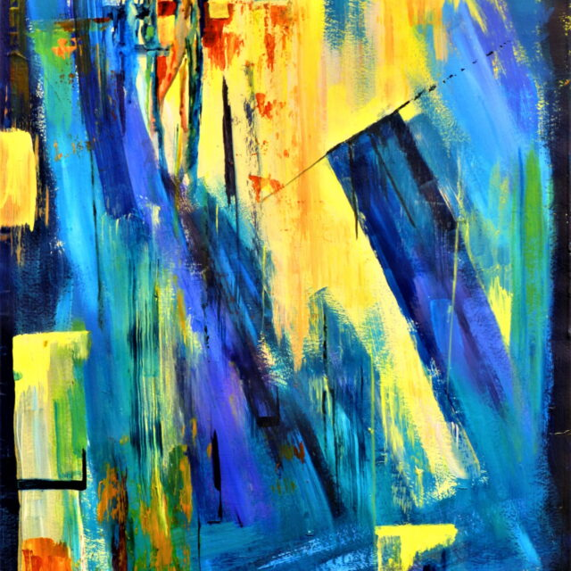 An abstract painting entitled Harbour Lights in blues, purples and yellows with flashes of oranges and blacks.