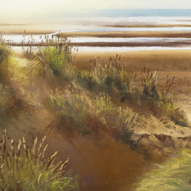 A pastel painting of Formby Beach at Freshfield with the afternoon sun casting shadows over the dunes and highlighting the marram grass.